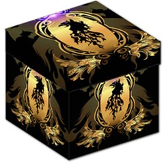 Lion Silhouette With Flame On Golden Shield Storage Stool 12