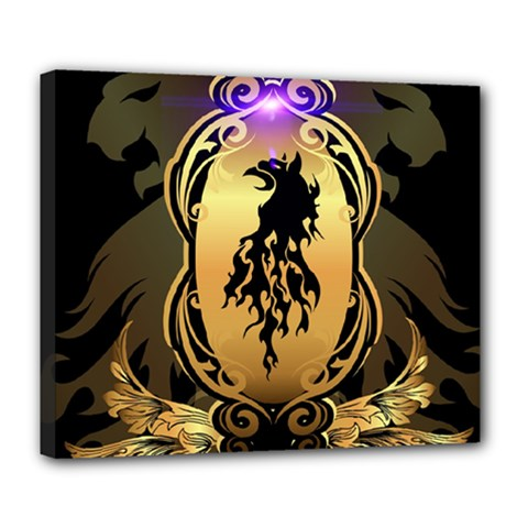 Lion Silhouette With Flame On Golden Shield Deluxe Canvas 24  x 20
