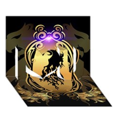 Lion Silhouette With Flame On Golden Shield I Love You 3d Greeting Card (7x5)