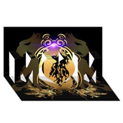 Lion Silhouette With Flame On Golden Shield MOM 3D Greeting Card (8x4)
