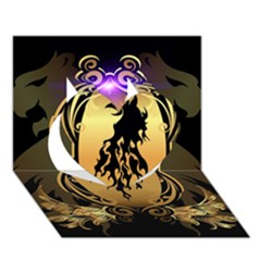 Lion Silhouette With Flame On Golden Shield Heart 3D Greeting Card (7x5)