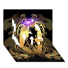 Lion Silhouette With Flame On Golden Shield LOVE 3D Greeting Card (7x5)