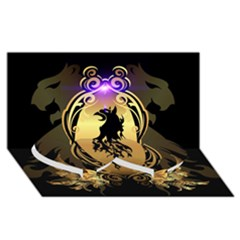 Lion Silhouette With Flame On Golden Shield Twin Heart Bottom 3D Greeting Card (8x4)