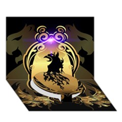 Lion Silhouette With Flame On Golden Shield Circle Bottom 3d Greeting Card (7x5)