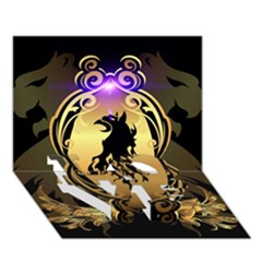 Lion Silhouette With Flame On Golden Shield Love Bottom 3d Greeting Card (7x5)