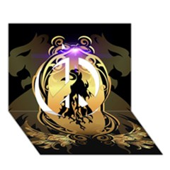 Lion Silhouette With Flame On Golden Shield Peace Sign 3D Greeting Card (7x5)