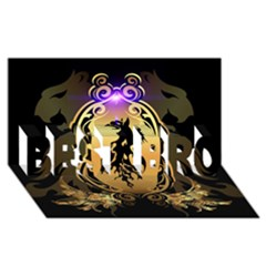 Lion Silhouette With Flame On Golden Shield Best Bro 3d Greeting Card (8x4)