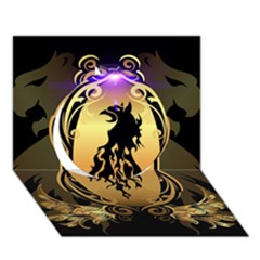 Lion Silhouette With Flame On Golden Shield Circle 3d Greeting Card (7x5)