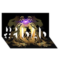 Lion Silhouette With Flame On Golden Shield #1 DAD 3D Greeting Card (8x4)