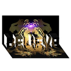 Lion Silhouette With Flame On Golden Shield Believe 3d Greeting Card (8x4)