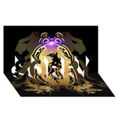 Lion Silhouette With Flame On Golden Shield SORRY 3D Greeting Card (8x4)