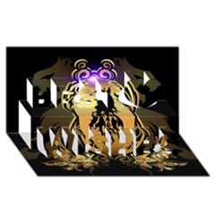 Lion Silhouette With Flame On Golden Shield Best Wish 3d Greeting Card (8x4)