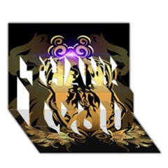 Lion Silhouette With Flame On Golden Shield Thank You 3d Greeting Card (7x5)
