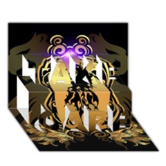 Lion Silhouette With Flame On Golden Shield TAKE CARE 3D Greeting Card (7x5)