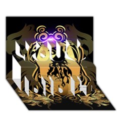 Lion Silhouette With Flame On Golden Shield You Did It 3d Greeting Card (7x5)