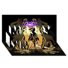 Lion Silhouette With Flame On Golden Shield Merry Xmas 3D Greeting Card (8x4)