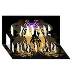 Lion Silhouette With Flame On Golden Shield Laugh Live Love 3D Greeting Card (8x4)