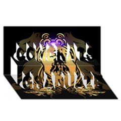 Lion Silhouette With Flame On Golden Shield Congrats Graduate 3d Greeting Card (8x4)