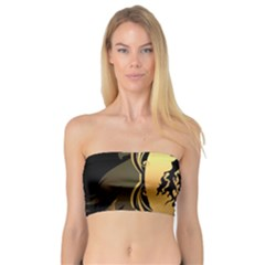 Lion Silhouette With Flame On Golden Shield Women s Bandeau Tops