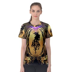 Lion Silhouette With Flame On Golden Shield Women s Sport Mesh Tees