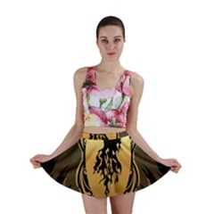 Lion Silhouette With Flame On Golden Shield Mini Skirts