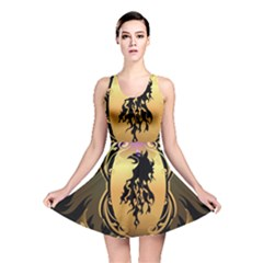 Lion Silhouette With Flame On Golden Shield Reversible Skater Dresses