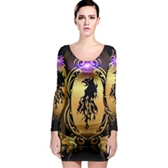 Lion Silhouette With Flame On Golden Shield Long Sleeve Bodycon Dresses