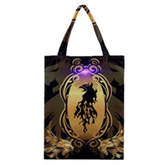 Lion Silhouette With Flame On Golden Shield Classic Tote Bags