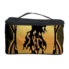 Lion Silhouette With Flame On Golden Shield Cosmetic Storage Cases