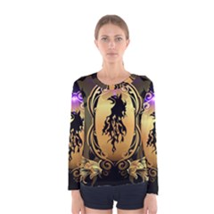 Lion Silhouette With Flame On Golden Shield Women s Long Sleeve T-shirts