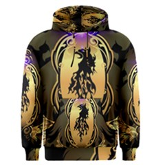 Lion Silhouette With Flame On Golden Shield Men s Pullover Hoodies