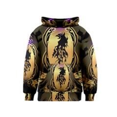 Lion Silhouette With Flame On Golden Shield Kid s Pullover Hoodies