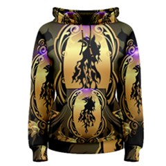 Lion Silhouette With Flame On Golden Shield Women s Pullover Hoodies