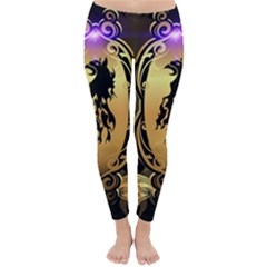 Lion Silhouette With Flame On Golden Shield Winter Leggings