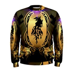 Lion Silhouette With Flame On Golden Shield Men s Sweatshirts