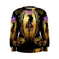 Lion Silhouette With Flame On Golden Shield Women s Sweatshirts