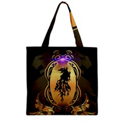 Lion Silhouette With Flame On Golden Shield Zipper Grocery Tote Bags