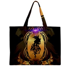 Lion Silhouette With Flame On Golden Shield Zipper Tiny Tote Bags