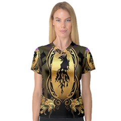 Lion Silhouette With Flame On Golden Shield Women s V-Neck Sport Mesh Tee