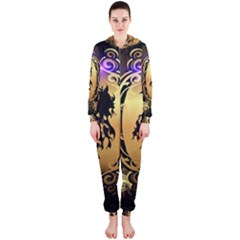 Lion Silhouette With Flame On Golden Shield Hooded Jumpsuit (ladies)