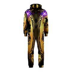 Lion Silhouette With Flame On Golden Shield Hooded Jumpsuit (Kids)