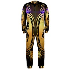 Lion Silhouette With Flame On Golden Shield OnePiece Jumpsuit (Men)