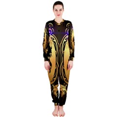 Lion Silhouette With Flame On Golden Shield Onepiece Jumpsuit (ladies)