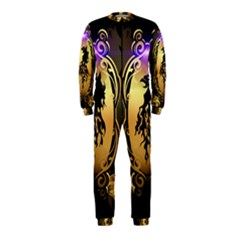 Lion Silhouette With Flame On Golden Shield Onepiece Jumpsuit (kids)