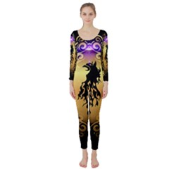 Lion Silhouette With Flame On Golden Shield Long Sleeve Catsuit