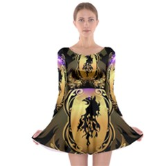 Lion Silhouette With Flame On Golden Shield Long Sleeve Skater Dress