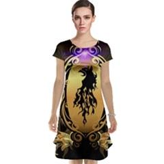 Lion Silhouette With Flame On Golden Shield Cap Sleeve Nightdresses
