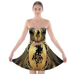 Lion Silhouette With Flame On Golden Shield Strapless Bra Top Dress
