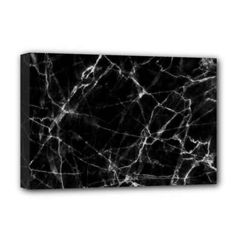 Black marble Stone pattern Deluxe Canvas 18  x 12