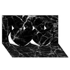 Black Marble Stone Pattern Twin Hearts 3d Greeting Card (8x4)